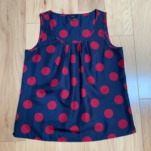 Talbots Blue red dots Sleeveless Top